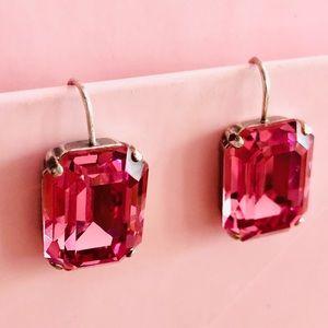 Jewelry - Pink RHINESTONE Crystal Dangle EARRINGS